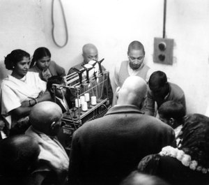 Sivananda Ashram binding a book